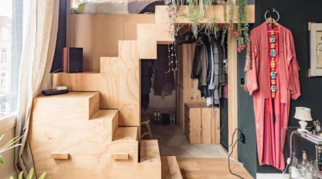 lit mezzanine double en bois pour adulte